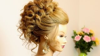 Wedding prom updo. Hairstyle for long medium hair.