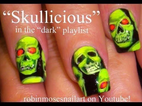 Nail Art Tutorial   Fun and Easy Nails   Glowing Neon Scary Skulls Nail Design