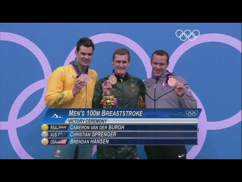 Highlights from the Men's 100m Breaststroke final in which South Africa's Cameron van der Burgh wins Gold during the London 2012 Olympic Games. Swimming has ...