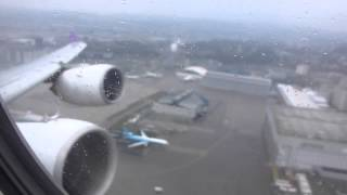 TG971: Rainy departure from Kloten - Takeoff with A340-600 from RWY16