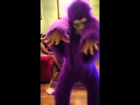 Purple Gorilla Costume Drunk Dancing Purple Gorilla