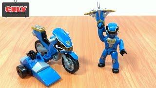 Lego Siêu nhân thiên sứ Xanh bắn cung lái môtô - Blue ranger power ranger megaforce mega block toy