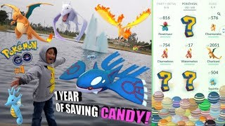 PLAYING POKEMON GO AT POKEMON PARK! We Spend Over 1 YEAR Of Saved Up EVOLUTION CANDY!!