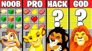 Minecraft Battle: THE LION KING MOVIE CRAFTING CHALLENGE - NOOB vs PRO vs HACKER vs GOD ~ Animation