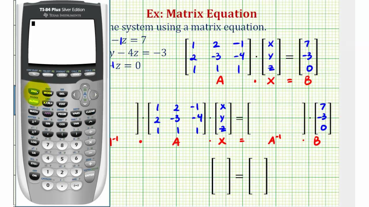 ex solve a system of three equations using a matrix equation youtube. Black Bedroom Furniture Sets. Home Design Ideas