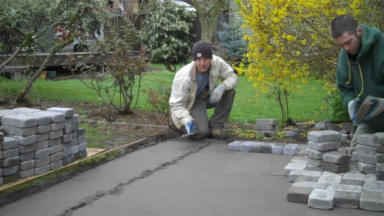 installation of a paver patio youtube. Black Bedroom Furniture Sets. Home Design Ideas