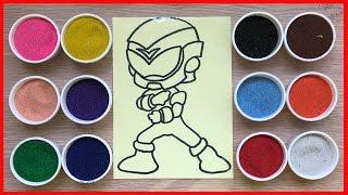 Đồ chơi TÔ MÀU TRANH CÁT siêu nhân Gao đỏ - Colored Sand Painting (Chim Xinh)
