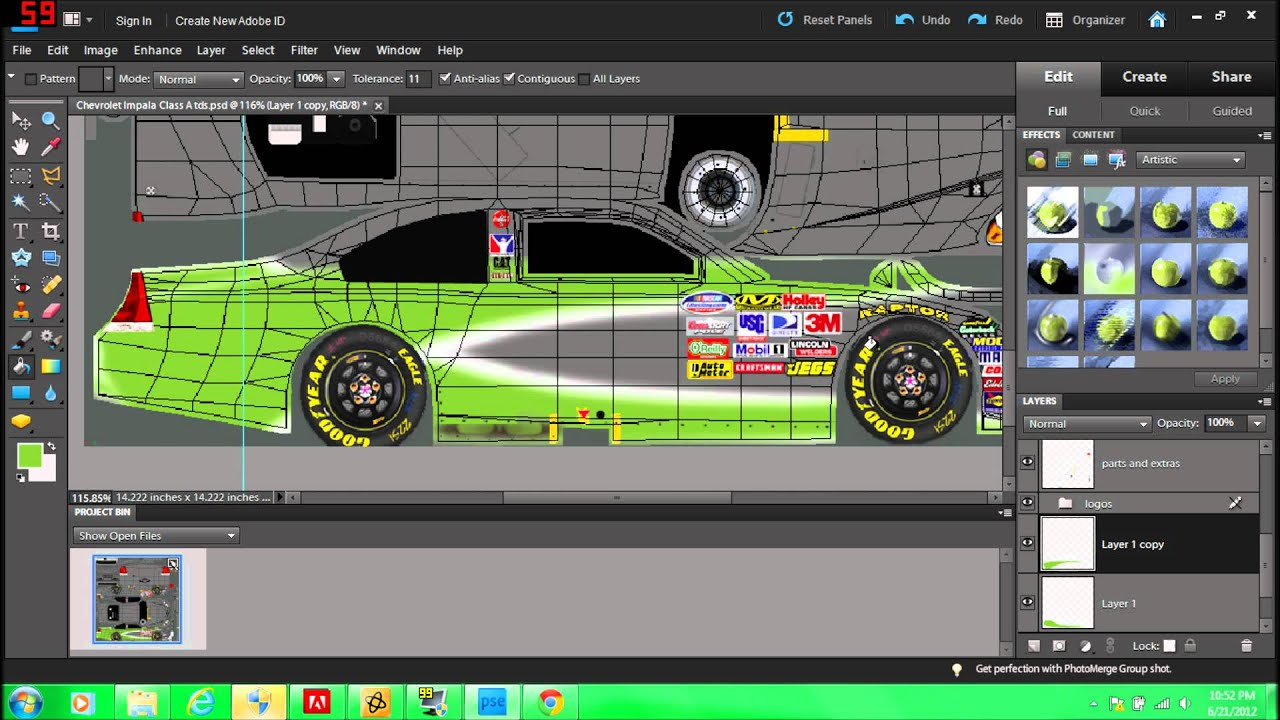 How to make an iracing Paint Scheme Using Photoshop Elements 9 (part 1) - YouTube