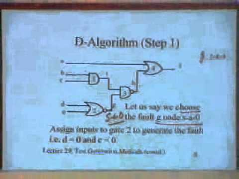lecture 30 - Test Generation Methods (Contd.) Boolean Difference and D - Algorithm