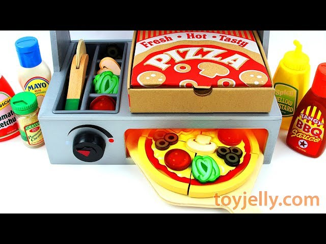 How to Make Play Doh Pizza Toy Velcro Cutting with Microwave Oven Baby Toy Appliance for Kids