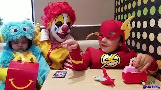 Ronald McDonald Surprise visit to McDonalds with Flash   Kids Halloween Videos