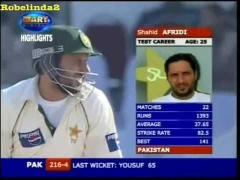 Shahid Afridi RAPES INDIA 156 vs India 2nd test 2005/06 25 mins video!