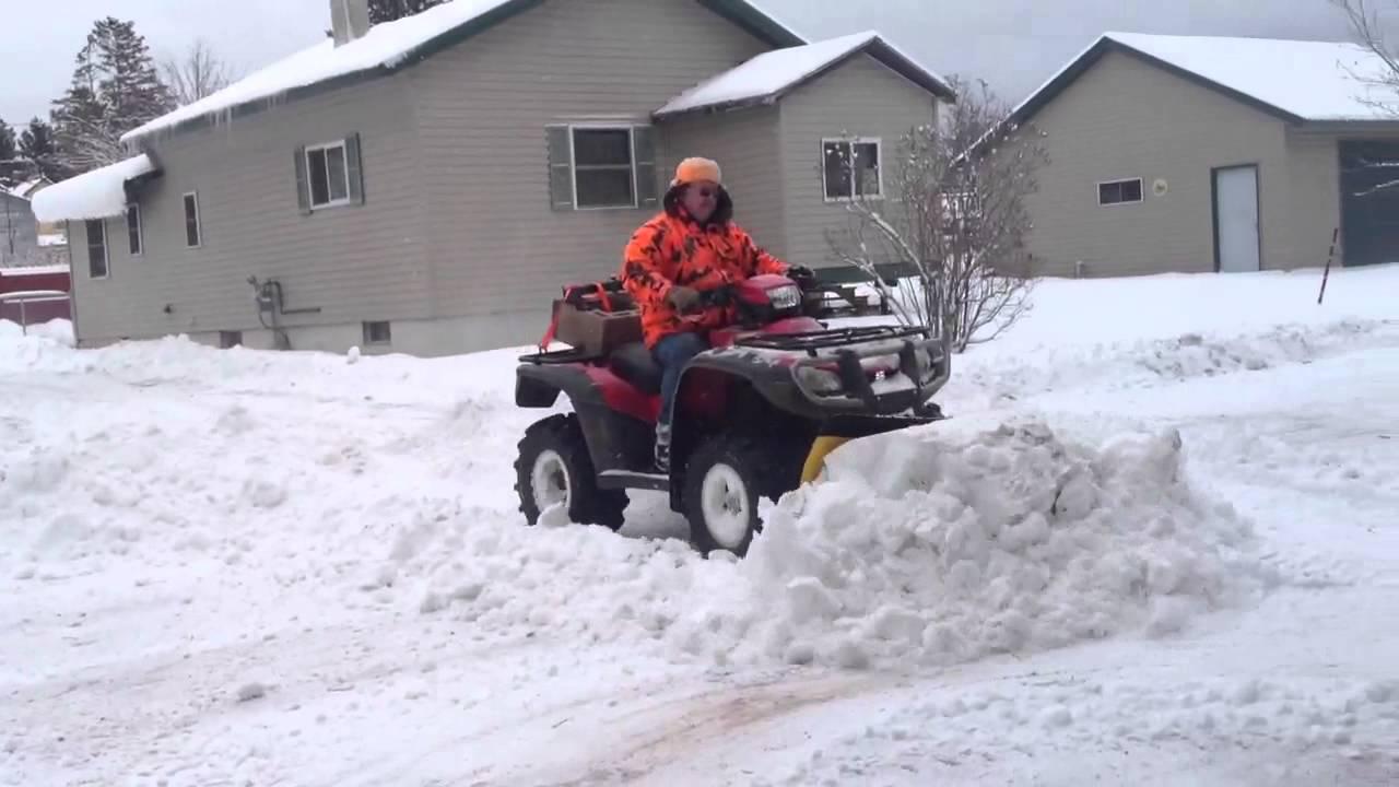 Honda Foreman Plowing Snow Youtube