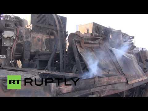 Yemen: Military vehicles left shattered by Saudi-led airstrike