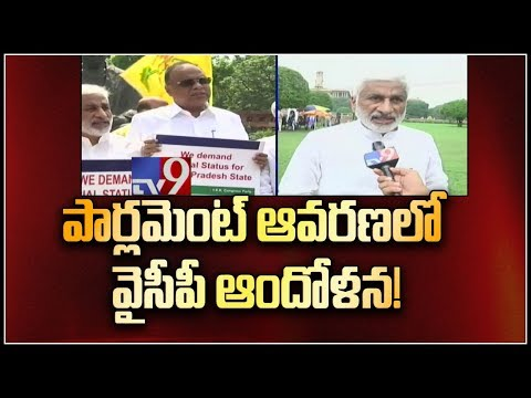 Special Status issue - YCP MPs Vijay Sai Reddy protests in Parliament courtyard - TV9