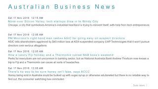 Business News Headlines for 17 Nov 2018 - 8 AM Edition