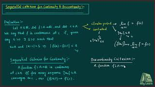 18 | Sequential Criterion for Continuity & Discontinuity | Explanation | Hindi
