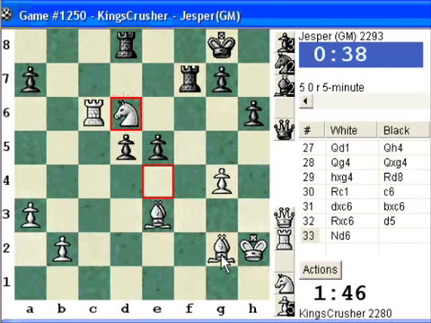 Chess World.net:  Blitz #336 vs GM Jesper (2293) - English Opening : Sicilian reversed (A25)