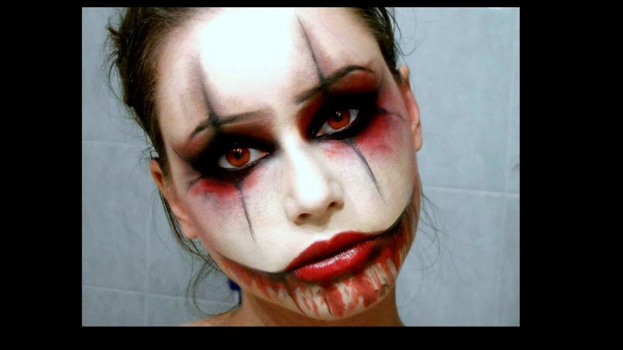 sexy creepy clown halloween makeup youtube. Black Bedroom Furniture Sets. Home Design Ideas