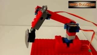 Sencillo Brazo Robotico Arduino Genuino con tres Servomotores y piezas Lego