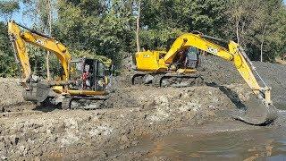 JCB Excavator Making Pound - JCB Working on Sticky Mud - Dozer Video 3