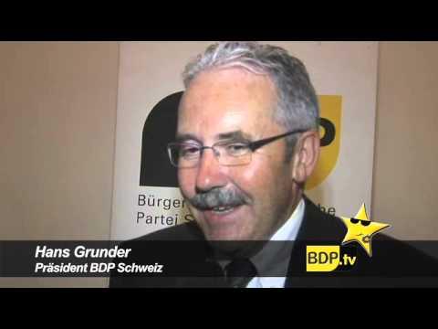 Parteipräsident Hans Grunder gratuliert der BDP Kanton Bern zum ersten Geburtstag.