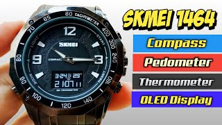 SKMEI 1464 OLED DISPLAY - UNBOXING, REVIEW, FULL SETUP COMPASS THERMOMETER PEDOMETER