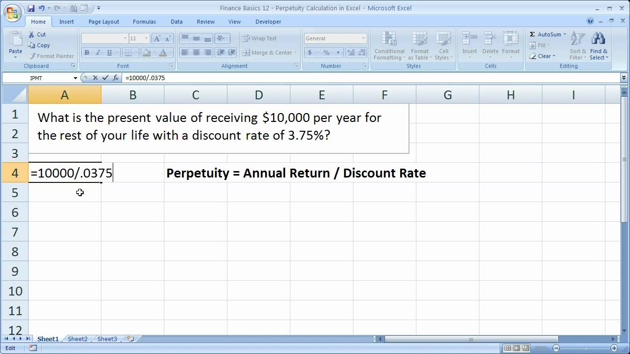 Finance Basics 12 - Perpetuity Calculation In Excel