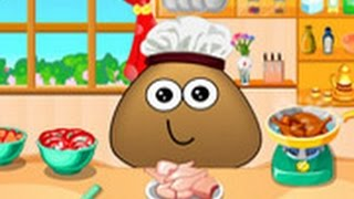 Cartoon Game: Pou Cooking lesson  Game Video for Little Kids