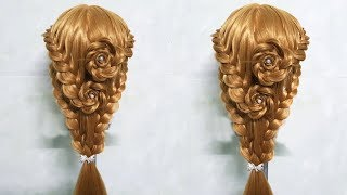 Latest hairstyle 2018 for long hair🌹 rose hairstyle hair tutorial🍀🌸 latest wedding hairstyle 2018