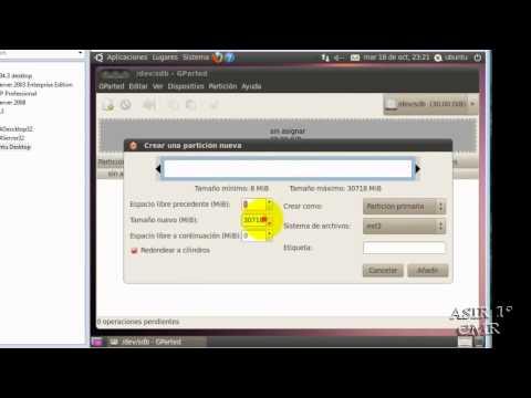 Videotutorial Gparted Ubuntu Desktop cd-live.wmv