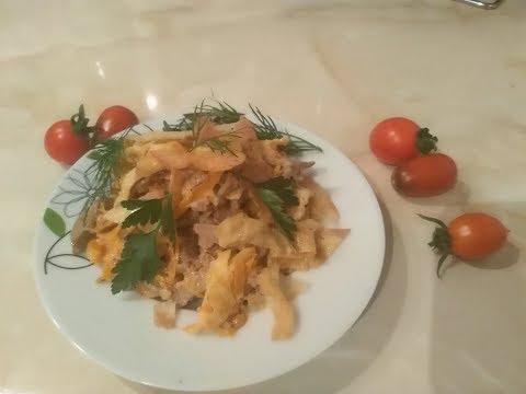 Вкусный, нежный и очень сытный салат с куриной печенью