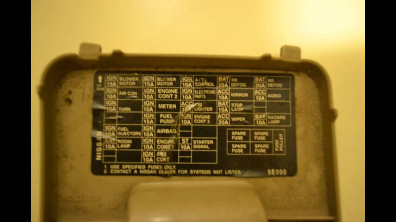 Nissan Altima 1998-2001 Fusebox cover. Fuse locations ...