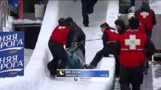 Belgian bobsled crashed