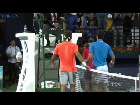 Roger Federer Championship point vs Novak Djokovic in ATP Dubai final