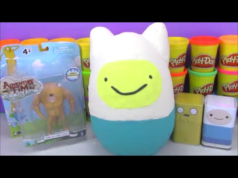 Giant Adventure Time Surprise Egg Play Doh Finn And Jake With Toys From Minecraft And More video
