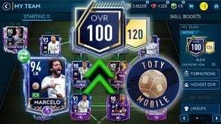 How to upgrade to 100 Ovr + lucky packs + I got TOTY Marcelo -Insane team upgrade in FIFA Mobile 19!