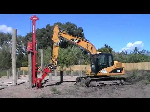 Pile Driving with Cat 312DL Excavator in New Zealand.