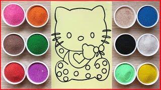 Chị Chim Xinh tô màu tranh cát mèo Hello Kitty đi ngủ -Colored sand painting Hello Kitty (Chim Xinh)