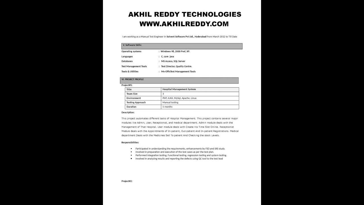 Resume For Xml Testing