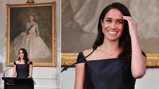Meghan Markle dressed in a gorgeous black gown by Gabriela Hearst at state reception in New Zealand