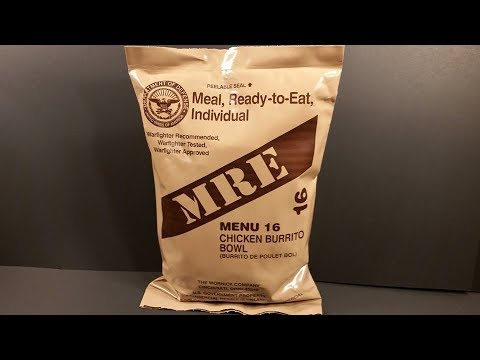 2017 MRE Chicken Burrito Bowl Meal Ready to Eat Review US Ration Taste Test