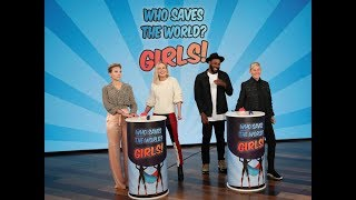 Scarlett Johansson & Brie Larson Play 'Who Saves the World? Girls!'