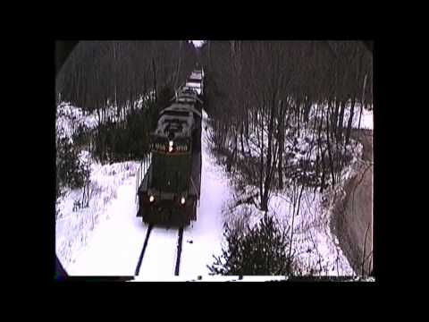 NHN GP9's with an empty stone train Rochester to Ossipee,NH 01/23/1991