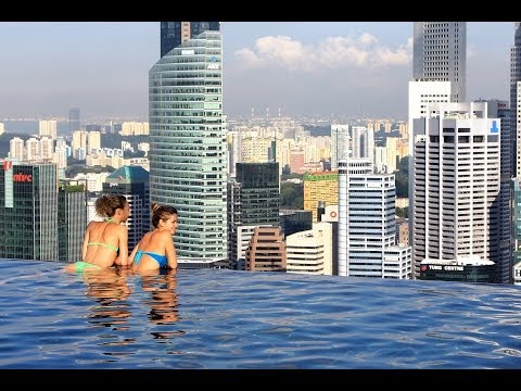 Marina Bay, Singapore - sunset & night view at the Infinity pool (music video HD)