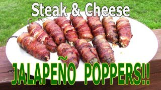 CHEESESTEAK POPPERS!! - How To Make Jalapeno Poppers - The Wolfe Pit