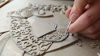 Victoria Ellis Carves Fine Bas Relief Figurative Clay Mural
