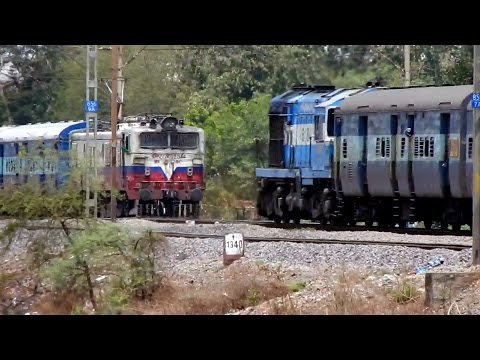 DIESEL vs ELECTRIC : Intercity Trains with 1st AC Compartments Greet Each Other