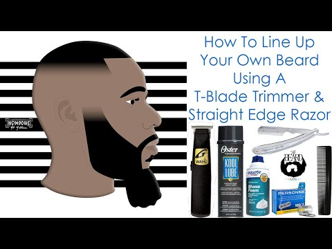How To Line Up Your Own Beard Using A T-Blade Trimmer & Straight Edge Razor   Parker SR1
