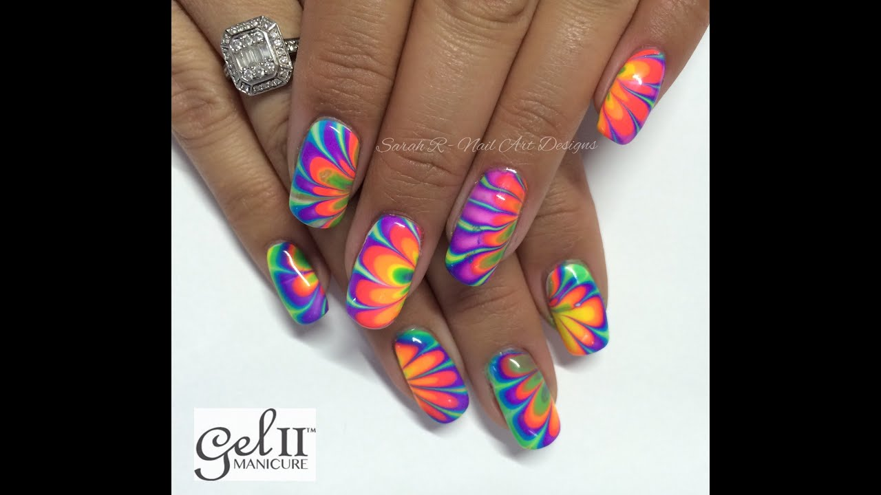 Neon Water Marble Nails Neon Rainbow Water Marble Nail
